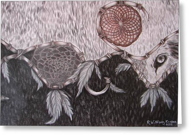 Tablets Drawings Greeting Cards - The Wolf is watching Greeting Card by Rebecca Wiltfong Frisbee