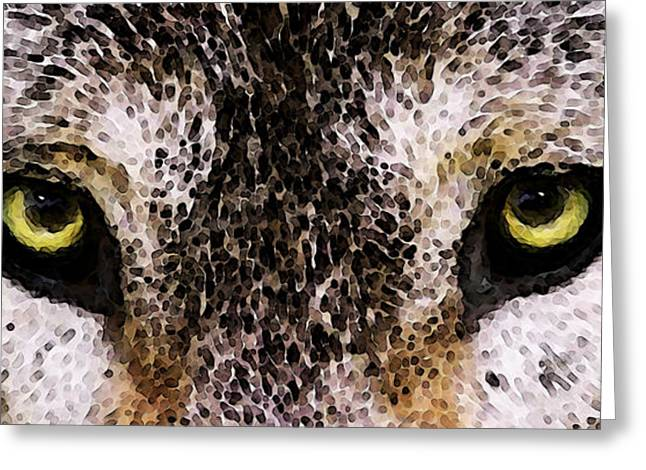 Wildlife Art Prints Greeting Cards - Wolf Eyes Greeting Card by Sharon Cummings