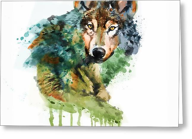 Wolf Face Greeting Cards - Wolf face watercolor Greeting Card by Marian Voicu