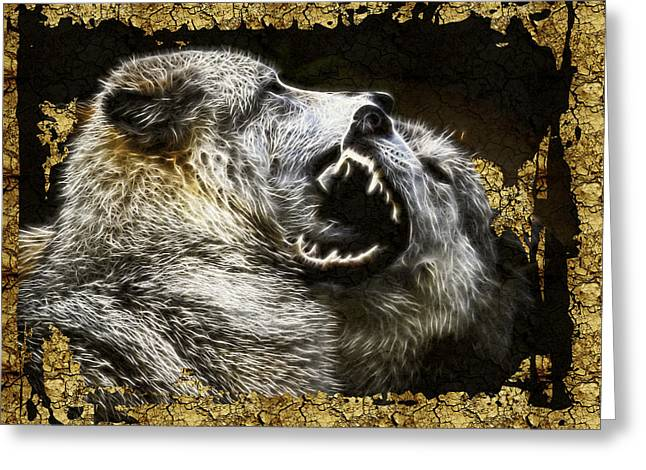 Preditor Greeting Cards - Wolf Fight over Cracks Greeting Card by Steve McKinzie