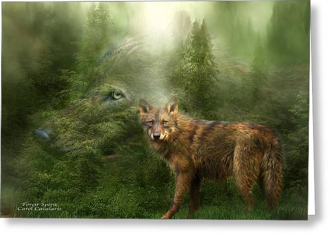 Pines Mixed Media Greeting Cards - Wolf - Forest Spirit Greeting Card by Carol Cavalaris