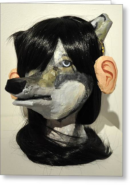 Ears Ceramics Greeting Cards - Wolf Girl Greeting Card by Sarah Wang
