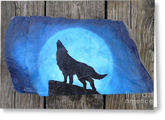 Howling Sculptures Greeting Cards - Wolf Howl2 Greeting Card by Monika Dickson-Shepherdson