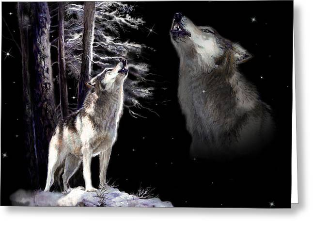 Wildlife Art Greeting Cards Greeting Cards - Wolf  howling memory Greeting Card by Gina Femrite