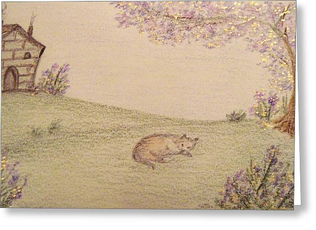 Fantasy Tree Art Pastels Greeting Cards - Wolf in a Spring Landscape Greeting Card by Christine Corretti