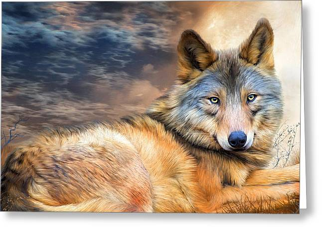 Wolf In Moonlight Greeting Card by Carol Cavalaris
