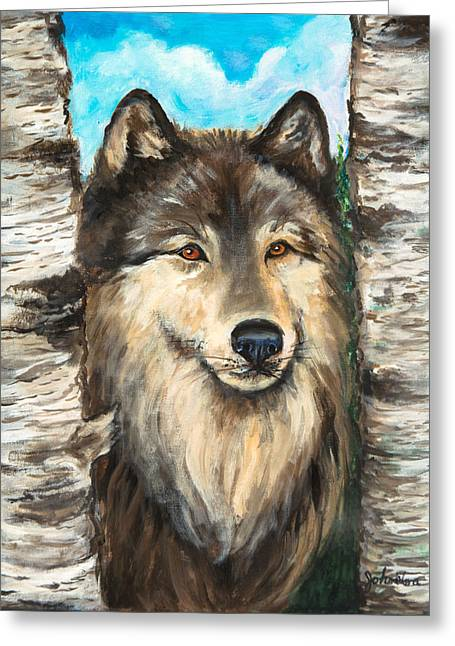 Oil Like Digital Greeting Cards - Wolf in the Aspens OriginalPainting ForSale Greeting Card by  Nadine Johnston
