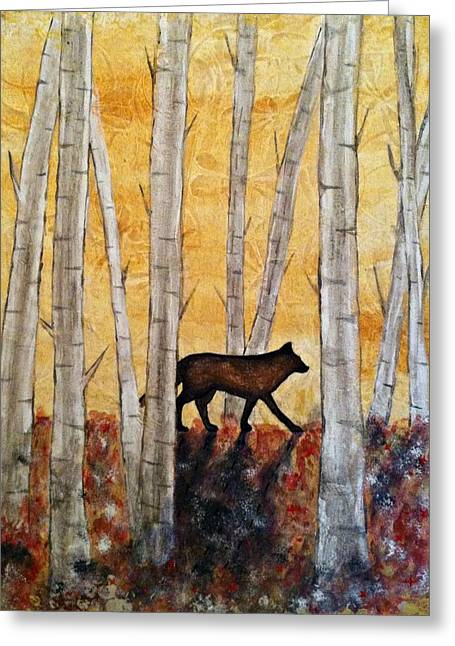 Wolf In The Birch Trees Greeting Card by Laura Heilman