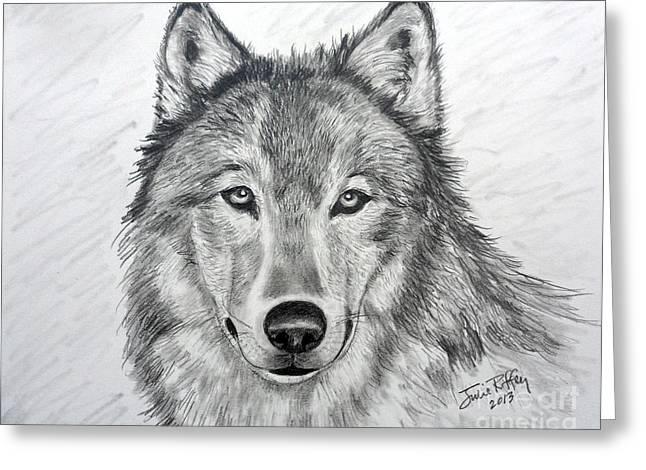 Wolf Greeting Card by Julie Brugh Riffey