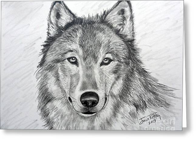 Bad Drawing Greeting Cards - Wolf Greeting Card by Julie Brugh Riffey