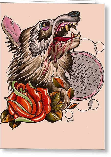 Sacred Drawings Greeting Cards - Wolf Greeting Card by Matt Truiano