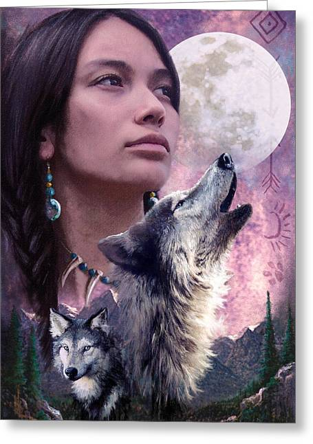 Native American Woman Greeting Cards - Wolf Montage Greeting Card by Garry Walton