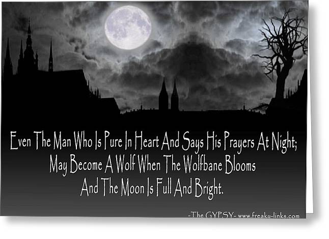 Recently Sold -  - Gypsy Greeting Cards - Wolf Moon Greeting Card by The Gypsy And D Kay