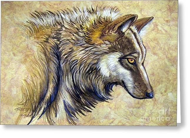 Amate Bark Paper Greeting Cards - Wolf Natural Beauty Greeting Card by Anne Shoemaker-Magdaleno