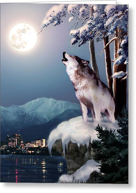 Nature Scene With Moon Greeting Cards - Wolf on the Doorstep of Civilization  Greeting Card by Gina Femrite