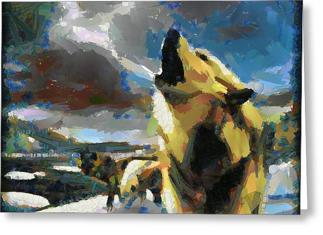 Recently Sold -  - Abstract Digital Paintings Greeting Cards - Wolf pack Greeting Card by Georgi Dimitrov