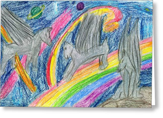 Wolves Drawings Greeting Cards - Wolf Pack Surfing the Rainbow Greeting Card by Kd Neeley