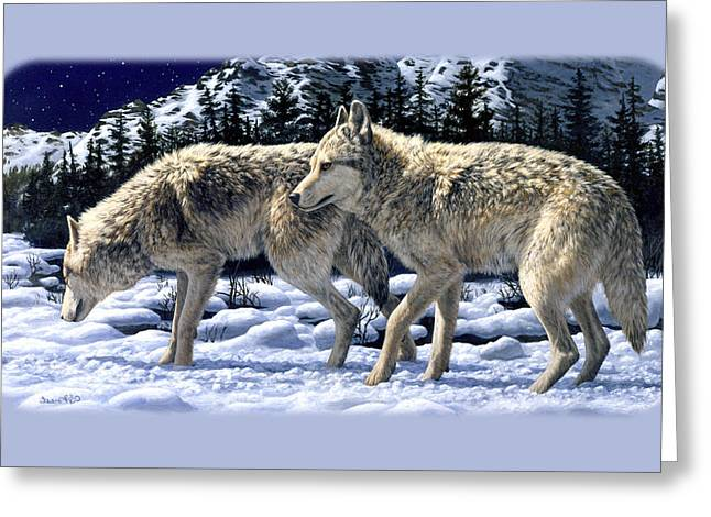 Forest At Night Greeting Cards - Wolf Painting iPhone Case Greeting Card by Crista Forest