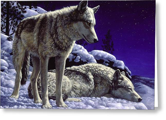 Scene Greeting Cards - Wolf Painting - Night Watch Greeting Card by Crista Forest