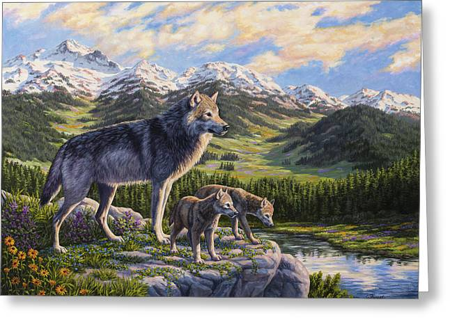 Mountain Valley Paintings Greeting Cards - Wolf Painting - Passing It On Greeting Card by Crista Forest