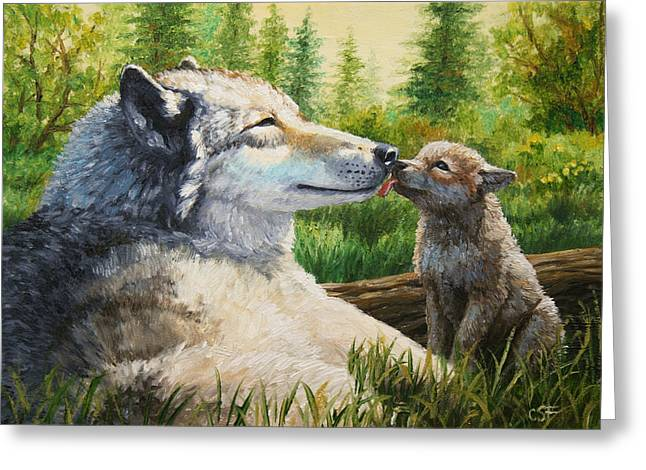 Grey Wolf Greeting Cards - Wolf Painting - Spring Kisses Greeting Card by Crista Forest