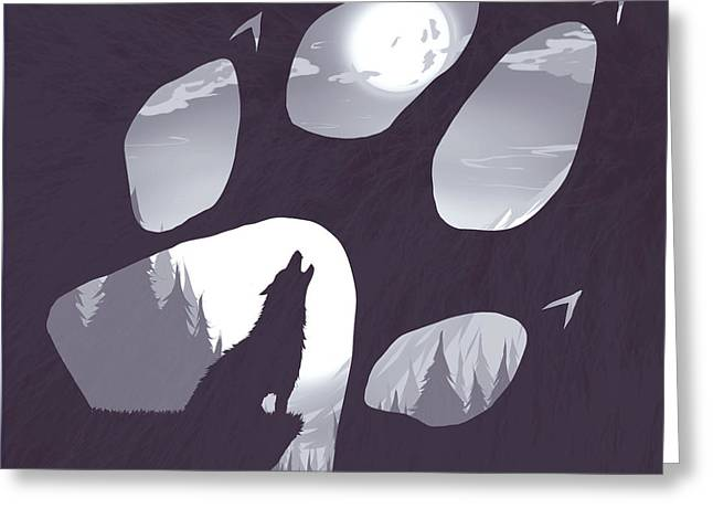 Wolf Moon Greeting Cards - Wolf paw Greeting Card by Daniel Hapi