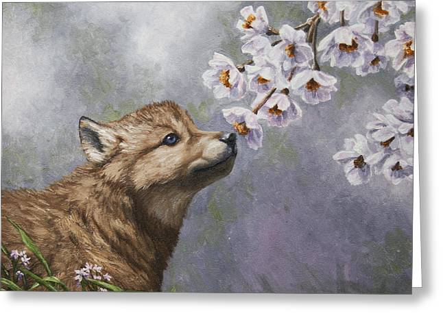 Puppies Paintings Greeting Cards - Wolf Pup - Baby Blossoms Greeting Card by Crista Forest