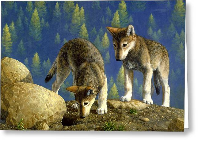 Green Forest Greeting Cards - Wolf Pups - Anybody Home Greeting Card by Crista Forest