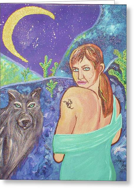 Wolf Queen's Vision Quest Greeting Card by Ifeanyi C Oshun