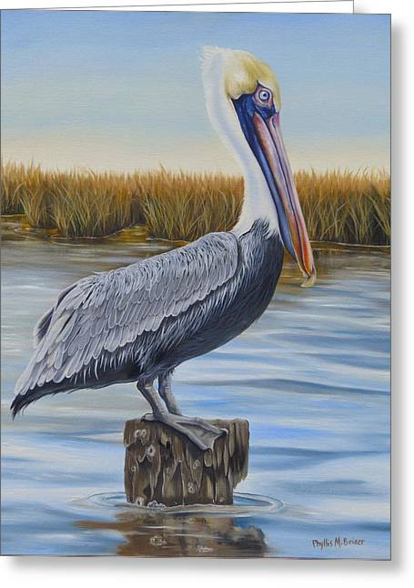 Phyllis Beiser Greeting Cards - Wolf River Pelican Greeting Card by Phyllis Beiser
