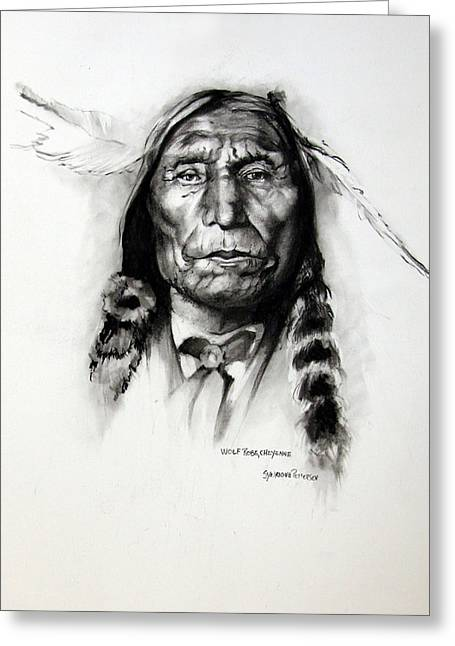 Indigenous Drawings Greeting Cards - Wolf Robe - Cheyenne Greeting Card by Synnove Pettersen