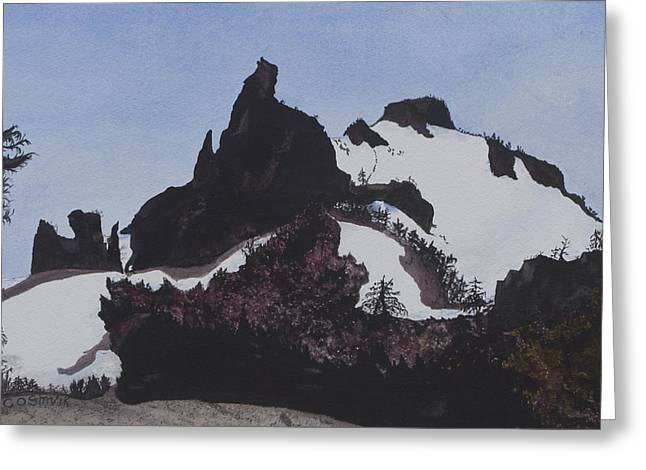 Craters Paintings Greeting Cards - Wolf Rock at Crater Lake Greeting Card by Carol Stavik