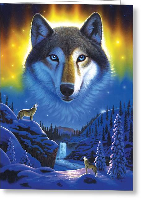 Wolves Photographs Greeting Cards - Wolf Snow Mountain Greeting Card by Chris Heitt