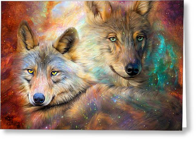 Art And Healing Greeting Cards - Wolf - Spirit Of The Universe Greeting Card by Carol Cavalaris