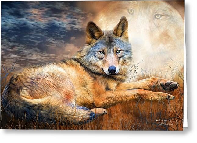 Wolf Moon Greeting Cards - Wolf - Spirit Of Truth Greeting Card by Carol Cavalaris