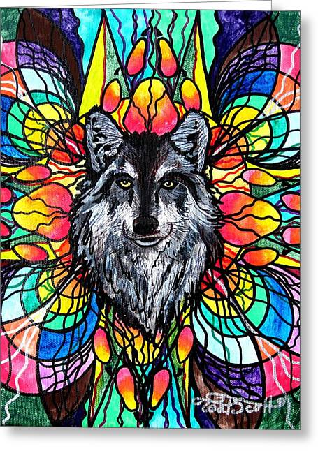 Geometric Image Greeting Cards - Wolf Greeting Card by Teal Eye  Print Store