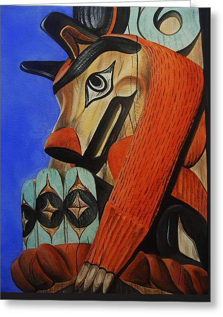 Wolf Totem Greeting Card by Lucy Deane