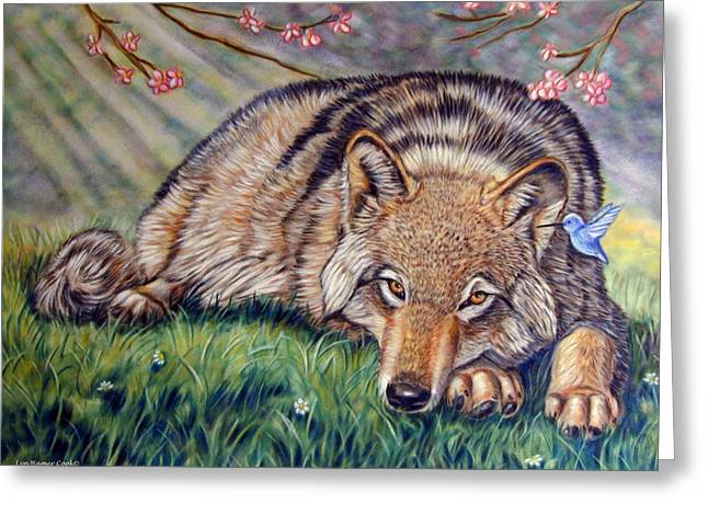 Cherry Blossoms Paintings Greeting Cards - Wolf Whisperer Greeting Card by Lyn Cook