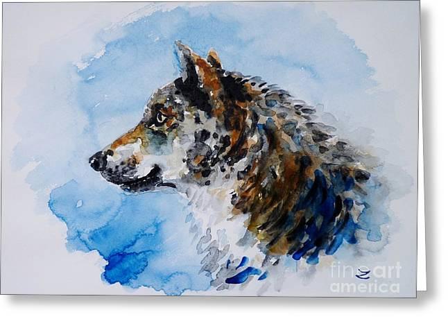 Wildlife  Poster Greeting Cards - Wolf Greeting Card by Zaira Dzhaubaeva