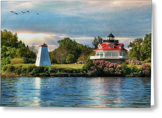 Clayton Digital Greeting Cards - Wolfe Island Lighthouse Greeting Card by Lori Deiter