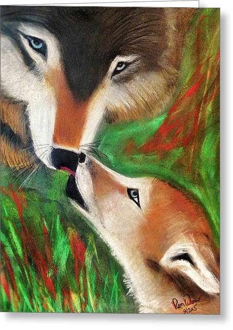 Wolf Pastels Greeting Cards - Wolfen Worship Greeting Card by Renee Michelle Wenker