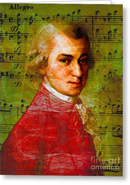 Wolfgang Greeting Cards - Wolfgang Amadeus Mozart 20140121v1 Greeting Card by Wingsdomain Art and Photography