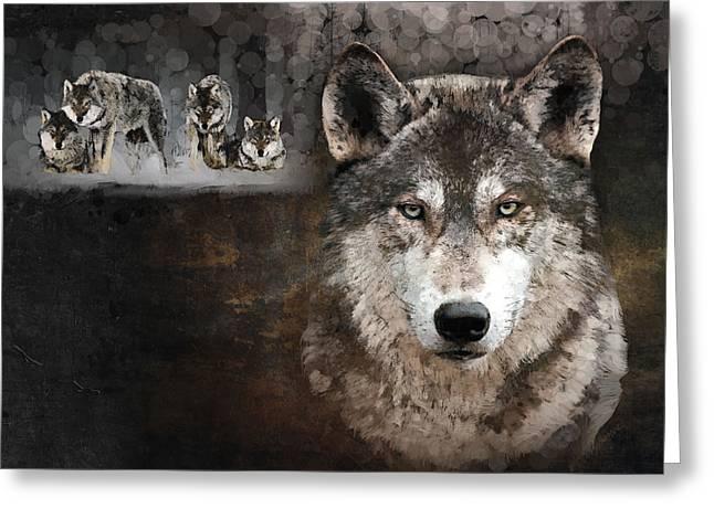 Marina Likholat Greeting Cards - Wolf Gang Greeting Card by Marina Likholat