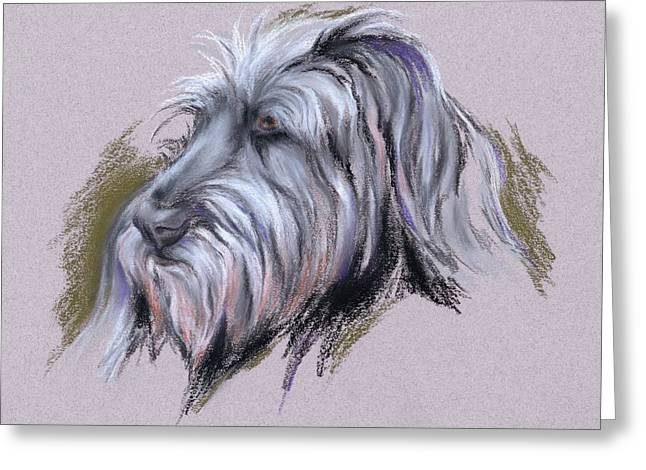 Hairy Wolf Greeting Cards - Wolfhound Portrait Greeting Card by MM Anderson