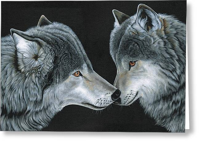 Head Greeting Cards - Wolfs Greeting Greeting Card by Heather Bradley