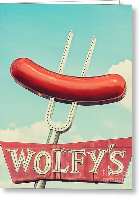 Iconic Places Greeting Cards - Wolfys in Chicago Greeting Card by Emily Enz