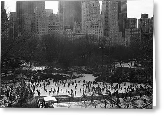 Ice-skating Greeting Cards - Wollman Rink Ice Skating, Central Park Greeting Card by Panoramic Images