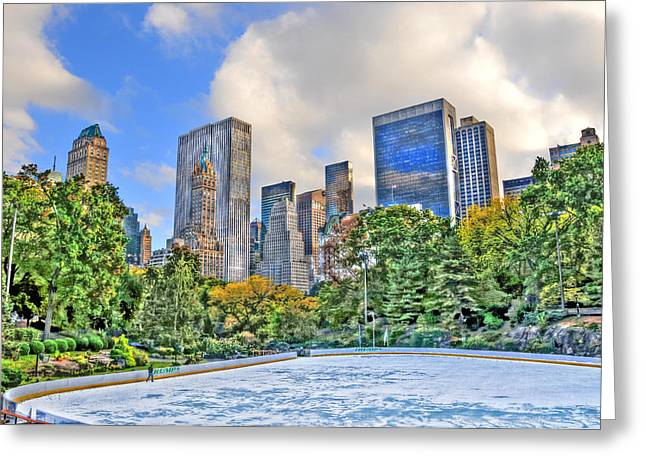 Wollman Rink Greeting Cards - Wollman Rink in Central Park Greeting Card by Randy Aveille