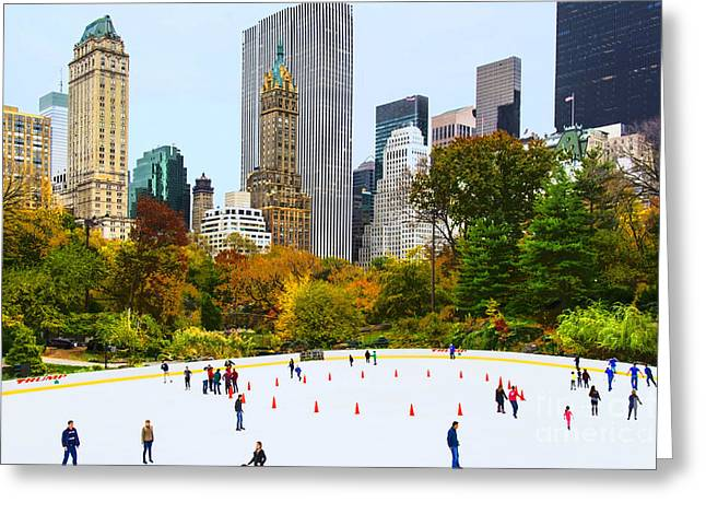 Wollman Rink Greeting Cards - Wollman Rink NYC in Autumn Greeting Card by Regina Geoghan