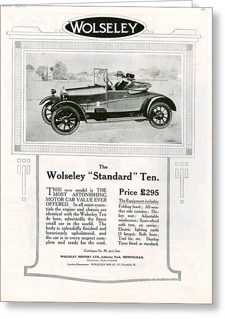 American Automobiles Greeting Cards - Wolseley 1923 1920s Usa Cc Cars Greeting Card by The Advertising Archives